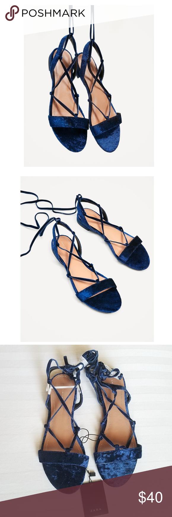 29d413f9a1f0 Zara Velvet Lace Up Gladiators Sandals Boho NWT