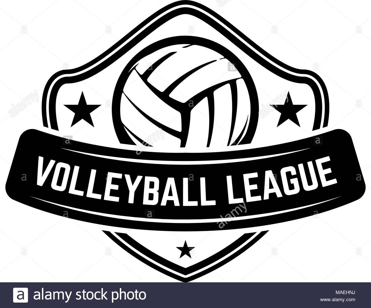 Download This Stock Vector Emblem Template With Volleyball Ball Isolated On White Background Design Element For Logo Label Emblem Sign Vector Illustration
