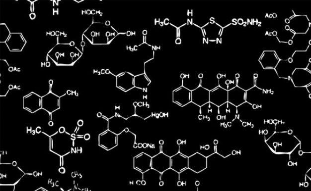 Scientific complex chemistry on black background   Vectors ...