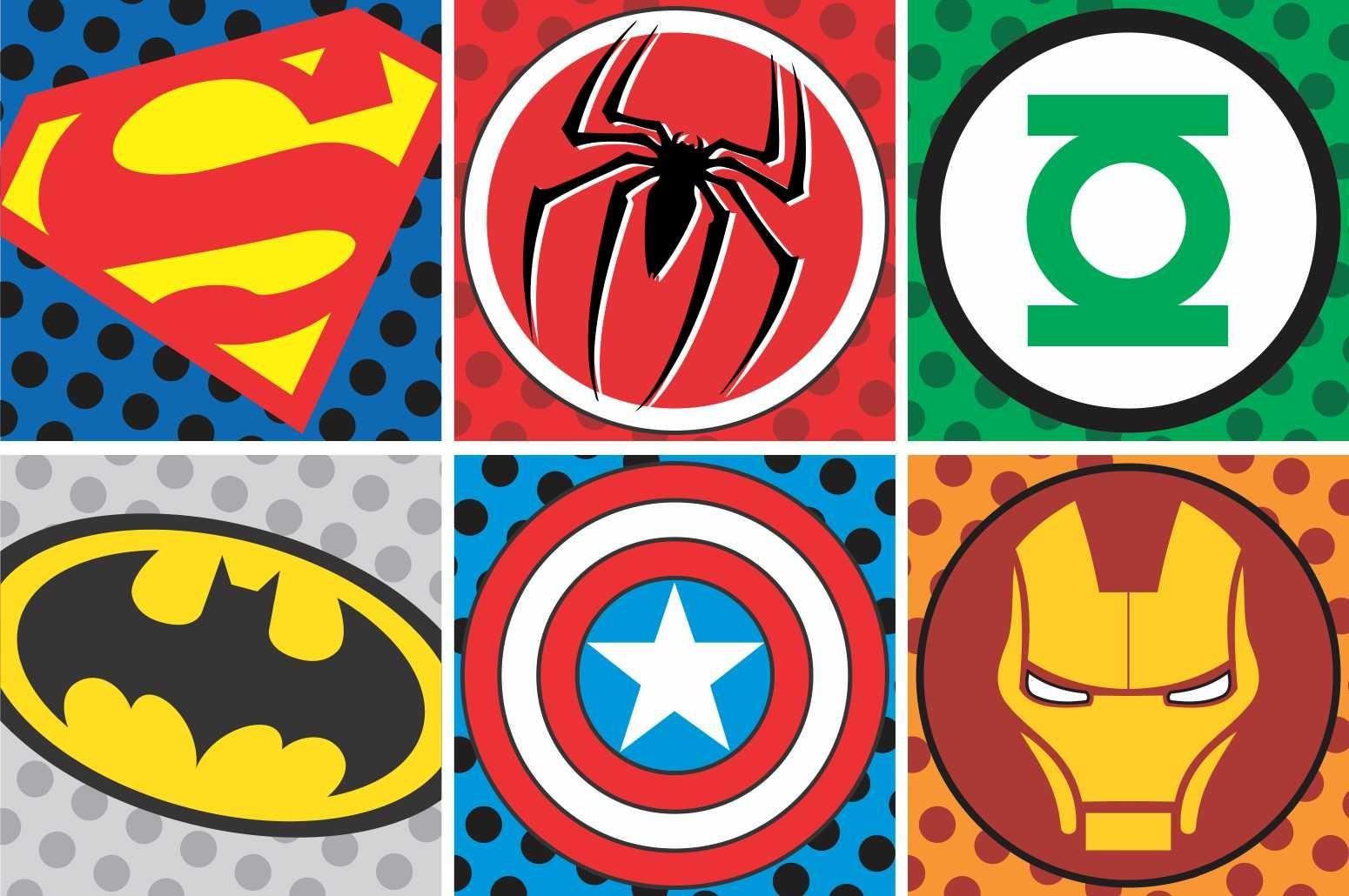 Adesivos Decorativos De Super Herois 5 Bolos E Maquetes  ~ Tecidos Para Parede De Quarto E Quarto Bebe Super Herois
