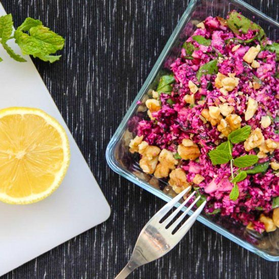 "RAW cauliflower ""couscous"" with walnuts, lemon, mint and the ""magic"" spice. Cauliflower like you never had it before!"