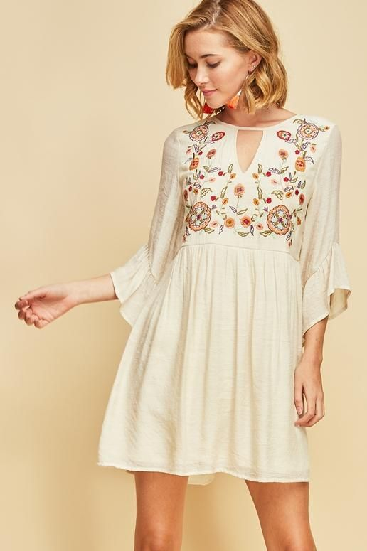 25a5fb0c2c5 Entro Enjoy Today Embroidered Dress- Natural in 2019
