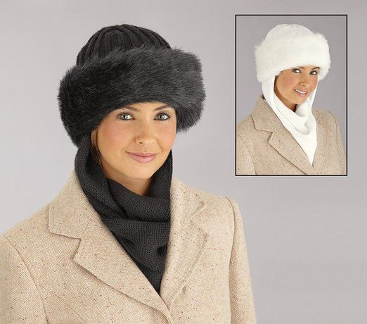 Collections Etc Faux Fur Trimmed Winter Hat W  Attached Scarf White ... 7bebd27cbd27