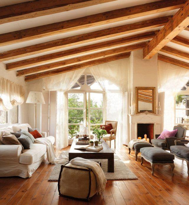 idee wohnzimmer landhausstil dachschräge sichtbare dachsparren - wohnzimmer in landhausstil
