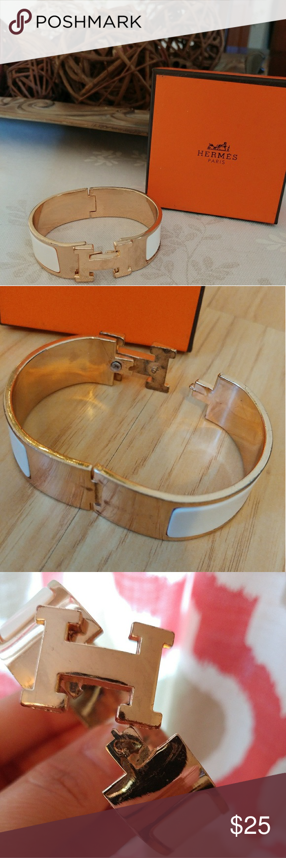 ??Clic Clac H Bracelet Very stylish bracelet that favors Hermes. VERY worn around some edges and the clasp needs to be tightened but still looks great on. This is not an authentic bracelet and again is worn but still cute ?????? Ami Jewelry Bracelets