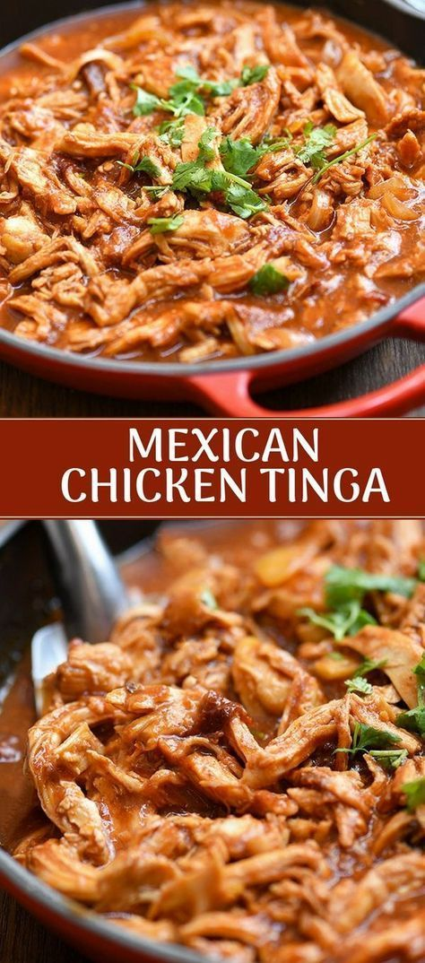 Chicken Tinga made with shredded chicken, tomatoes, and chipotle chilis in adobo. Hearty and boldly flavored, this Mexican dish is perfect for tacos, burritos, tostadas, or as a main dish with rice and beans.