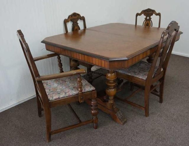 Vintage 1920s 1930s Butterfly Leaf Mahogany Dining Table With 4 Chairs