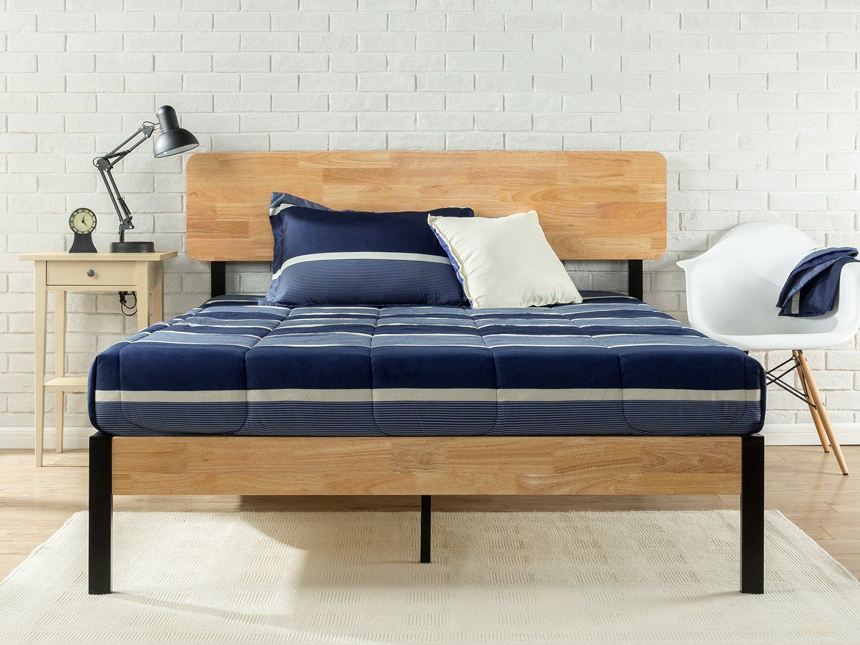 Zinus Tuscan Metal and Wood Platform Bed with Wood Slat