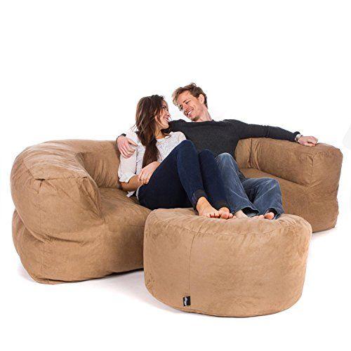 Miraculous Great Bean Bags 3 Seat Couch Faux Suede Caramel 200Cm X Inzonedesignstudio Interior Chair Design Inzonedesignstudiocom