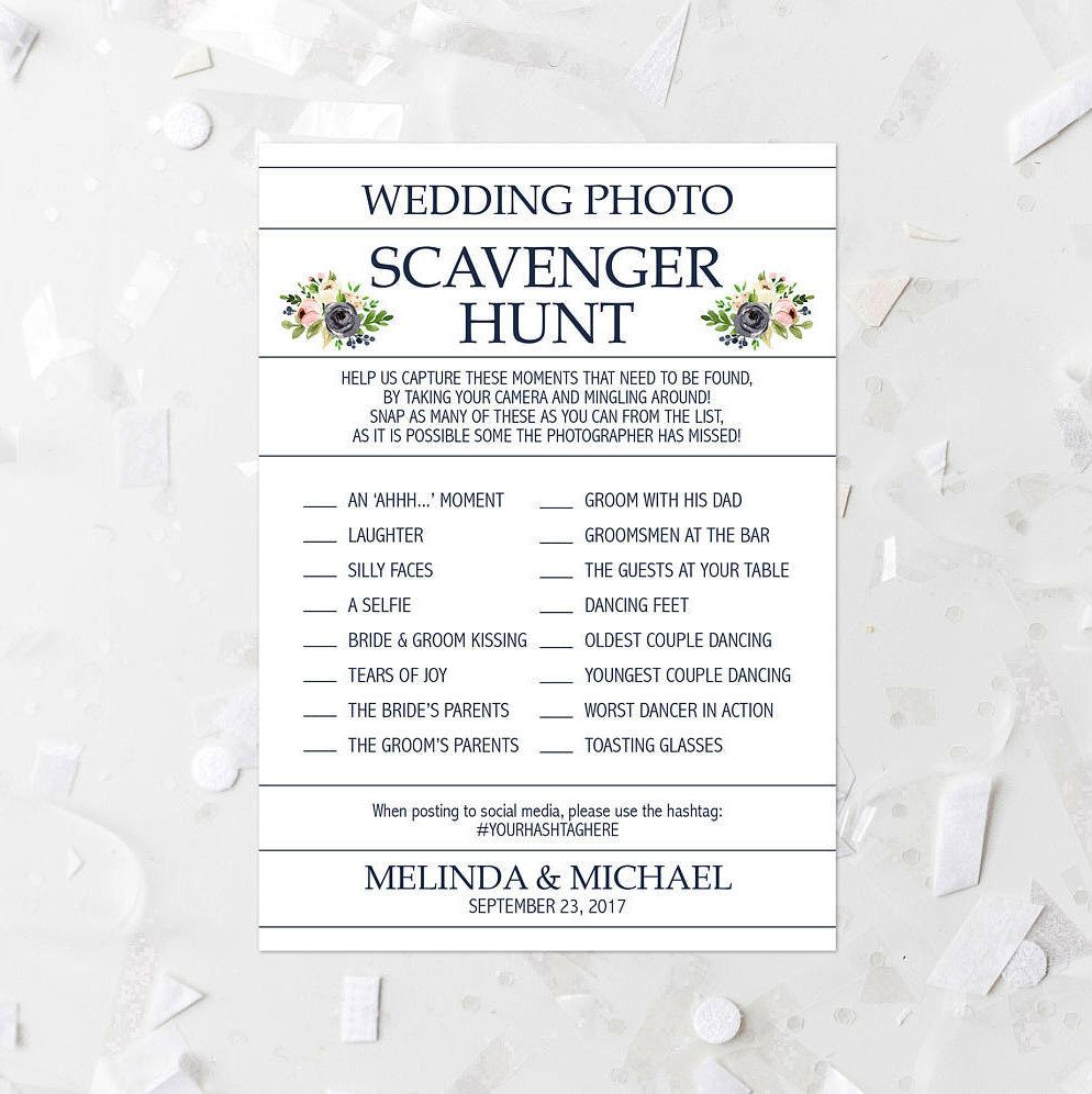 Fl Wedding Photo Scavenger Hunt List Printable Pink And Navy Reception Activity Hashtag 233