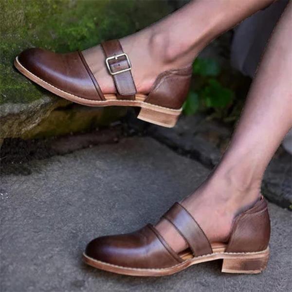 Vintage Summer Low Heels Buckle Hollow Sandals 2