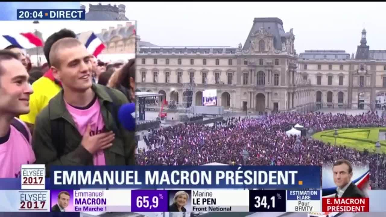 """""""Une joie immense"""", les sympathisants d'Emmanuel Macron fêtent la victoire"""