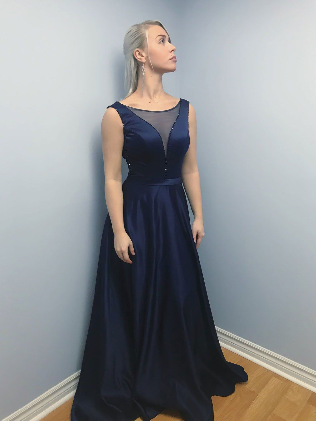 Long Beaded Navy Blue Prom Dresses See Through Backless Semi Formal ...