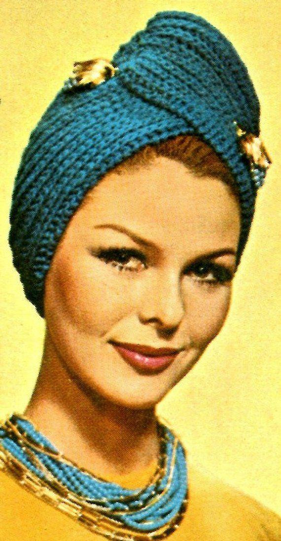 Ladies  1960s Retro Knitted Turban -- PDF KNITTING PATTERN in 2019 ... ee61f20388f