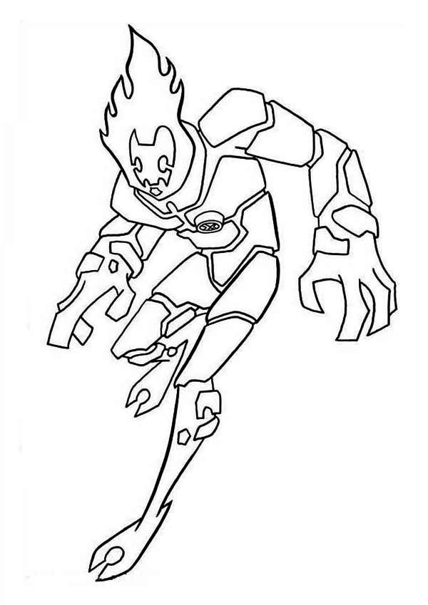 Ben 10 Heatblast Coloring Pages