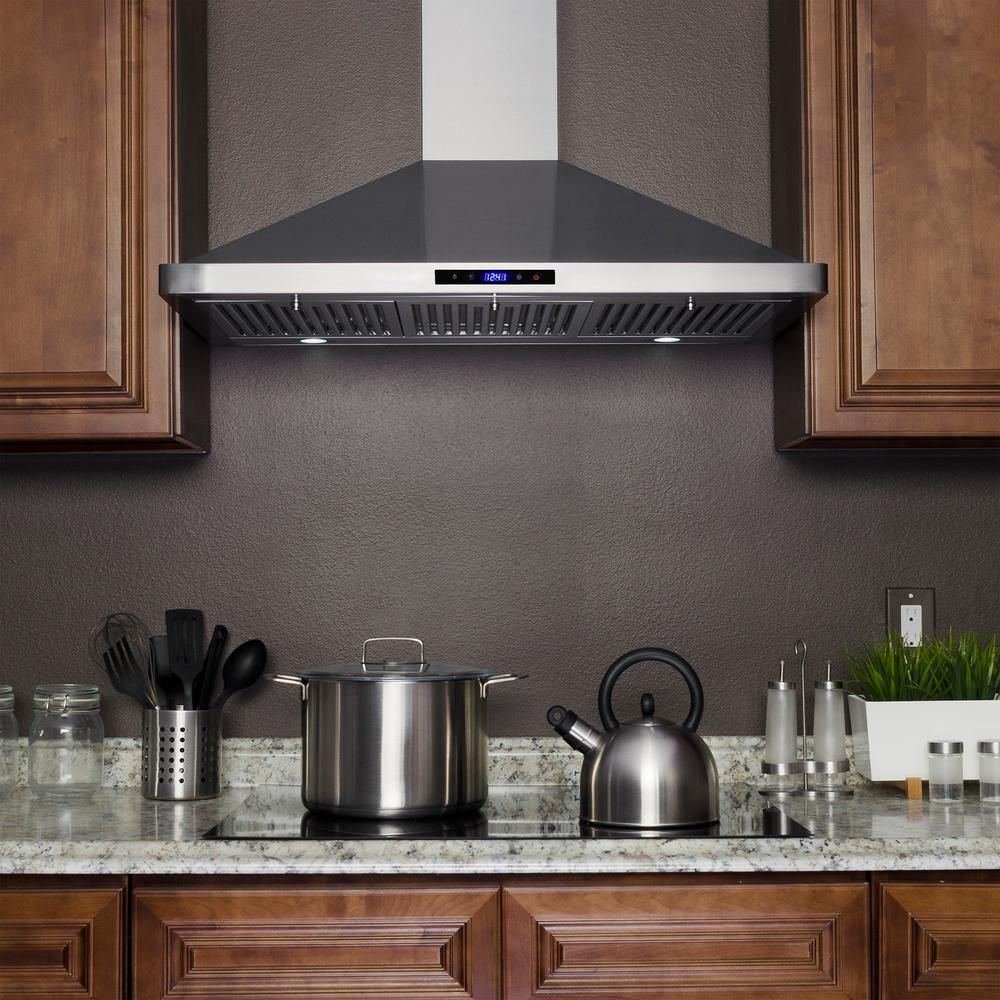 Akdy 36 In Convertible Kitchen Wall Mount Range Hood In Stainless Steel With Leds Touch Control And Carbon Filters Rh0420 The Home Depot Range Hood Wall Mount Range Hood Kitchen Range Hood