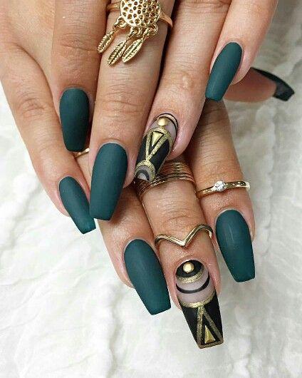 Green nails , dark green on long nails , nail art design