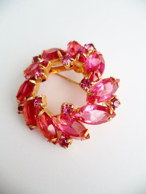 Vintage Rhinestone Brooch Pin Jewelry by SPARKLESandSASS on Etsy