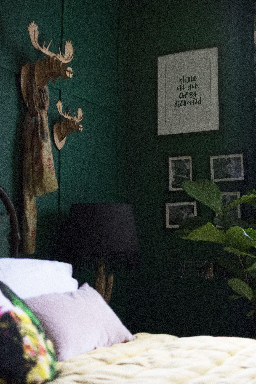 Bedroom Painted in deep sea green by Valspar