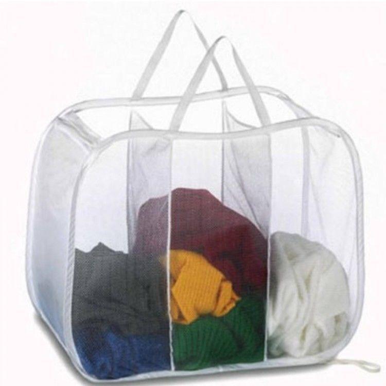 Tote Bag Laundry Hamper Clothes Divider Washing Basket Storage Bin Organizer New
