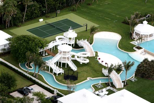 Celine Dion backyard. The elaborate pool system uses 500,000 gallons of water and includes two swimming pools, two water slides, and a lazy river, which has a slow current to pull you into the main pool. This was all Celine's own design