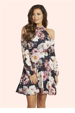 7f6ae98420a300 Jessica Wright Violet Multicolour Floral Shift Dress