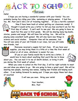 Summer Welcome Letter For Primary Grades | back to school