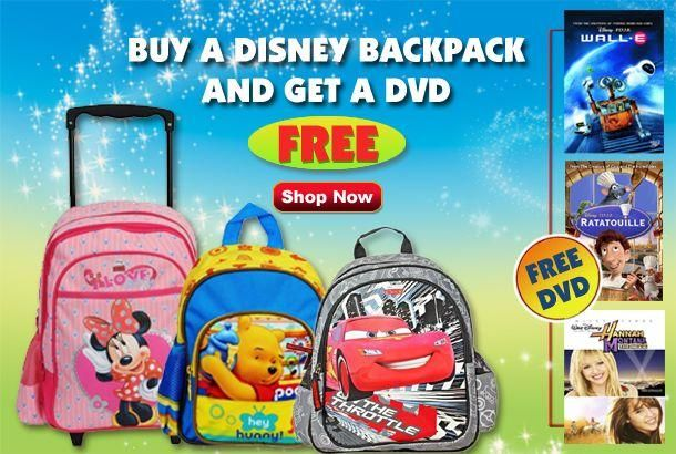 Buy any school bags and get disney DVD absolutely Free .