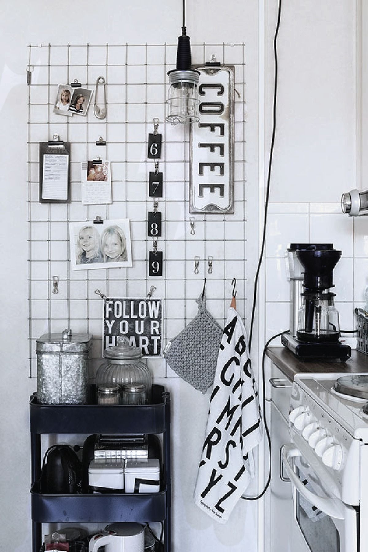 This simple black and white kitchen is an eclectic and modern ...
