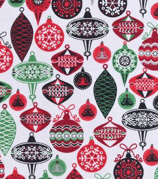 Snuggle Flannel Fabric Colorful Ornaments Christmas