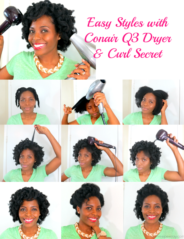 Easy Holiday Hair Style using Conair Curl Secret & Q3 Dryer #holidayhair