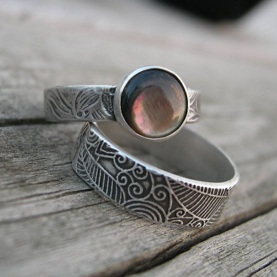 Black Lip Oyster Shell Silver Stacking Ring Rustic by westbyron
