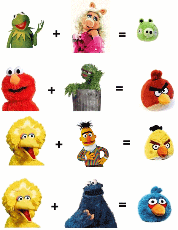 Are the Angry Birds Muppet love children?