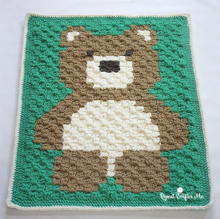 Crochet C2c Bernat Blanket Bear Repeat Crafter Me Crochet