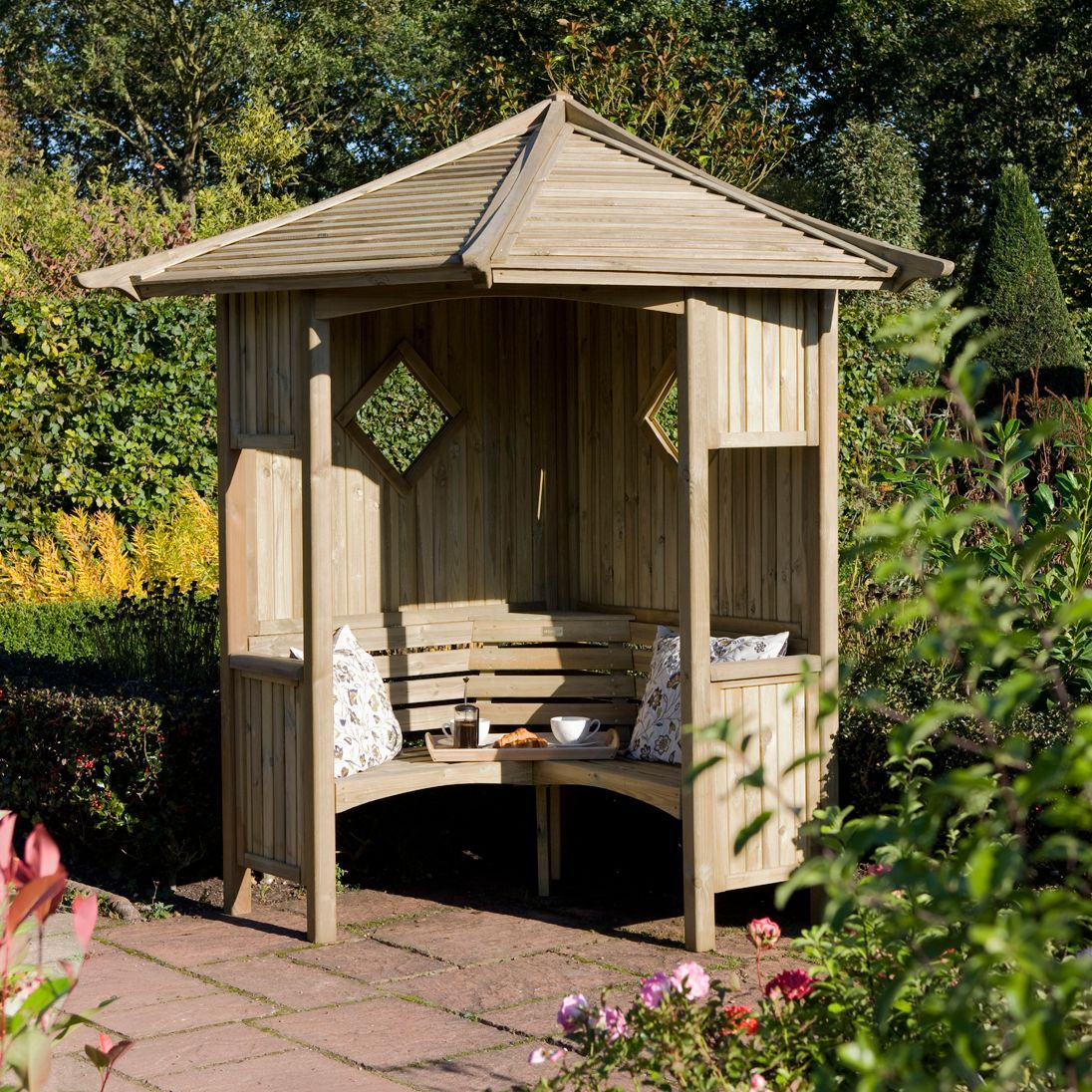 Elegant Wooden Corner Arbour With Assembly Service Departments