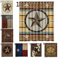 Wish Western Texas Star Polyester Bathroom Shower Curtain 60 W