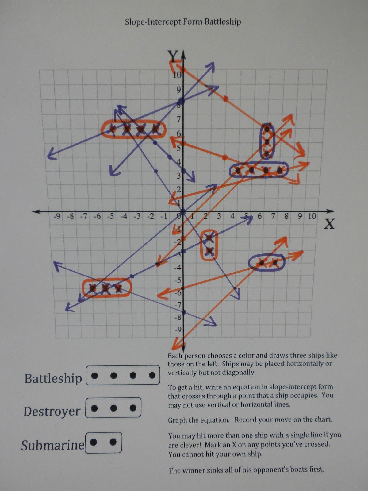 i is a number SlopeIntercept Form Battleship – Graphing Slope Intercept Form Worksheet