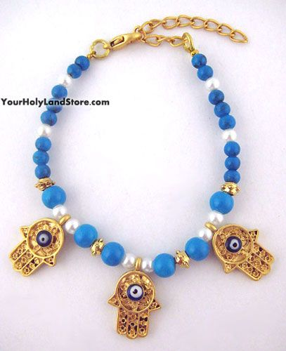 Evil Eye Protection Bracelet with 3 Hands of God Eye protection