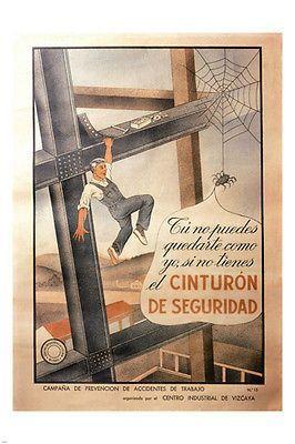 FIRE INSURANCE vintage ad poster SPAIN 1940 24X36 DESTRUCTION PROTECTION