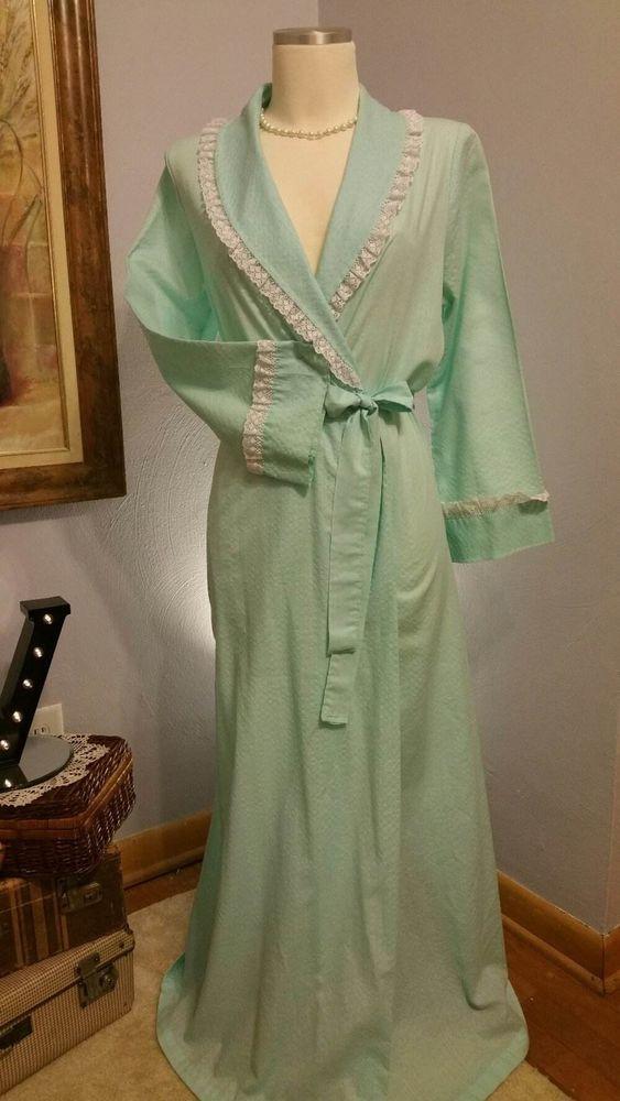 Vintage Cotton Seersucker Full Length Wrap Bath Robe Dressing Robe ...