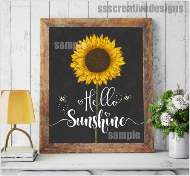 Kitchen Wall Art Chalk Board Art Sunshine Sun Flower SUnflower #flowers #sun #flowers