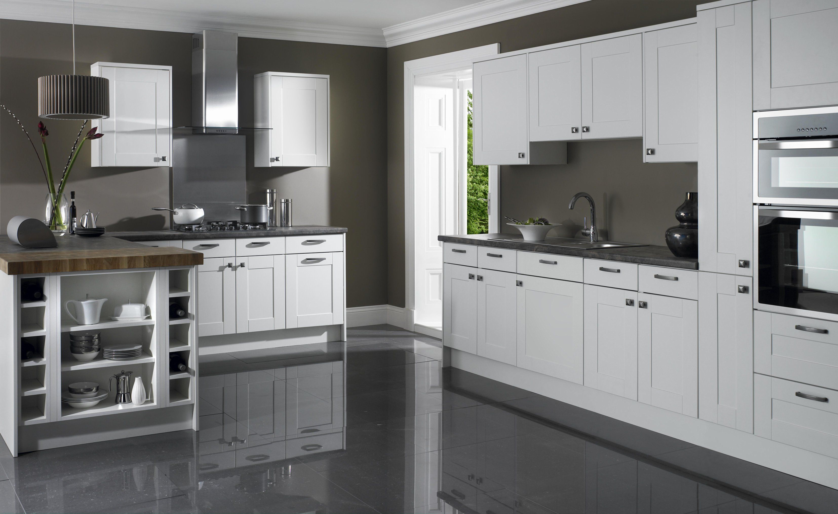 fine looking grey wall painted color schemes with white shaker kitchen cabinets also grey gloss floor tiled in grey and white kitchen designs