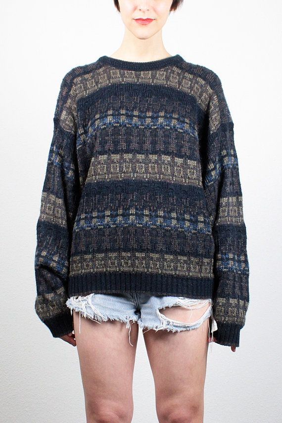 bfe2e8fa256 Vintage 90s Sweater Boho Soft Grunge Sweater 1990s Pullover Striped ...