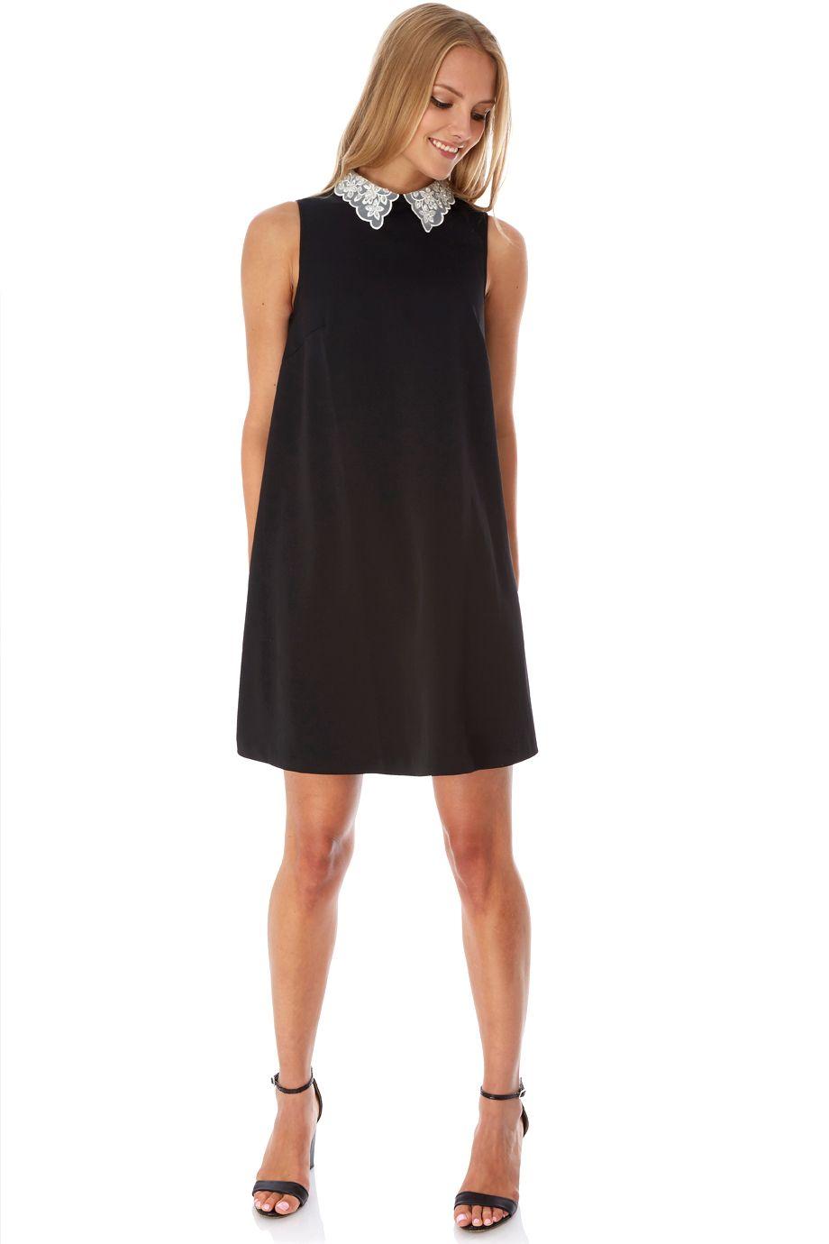 Μαύρο φόρεμα σε  Α  γραμμή με κεντημένο λευκό γιακαδάκι από οργκάντζα  8bd8951c27c