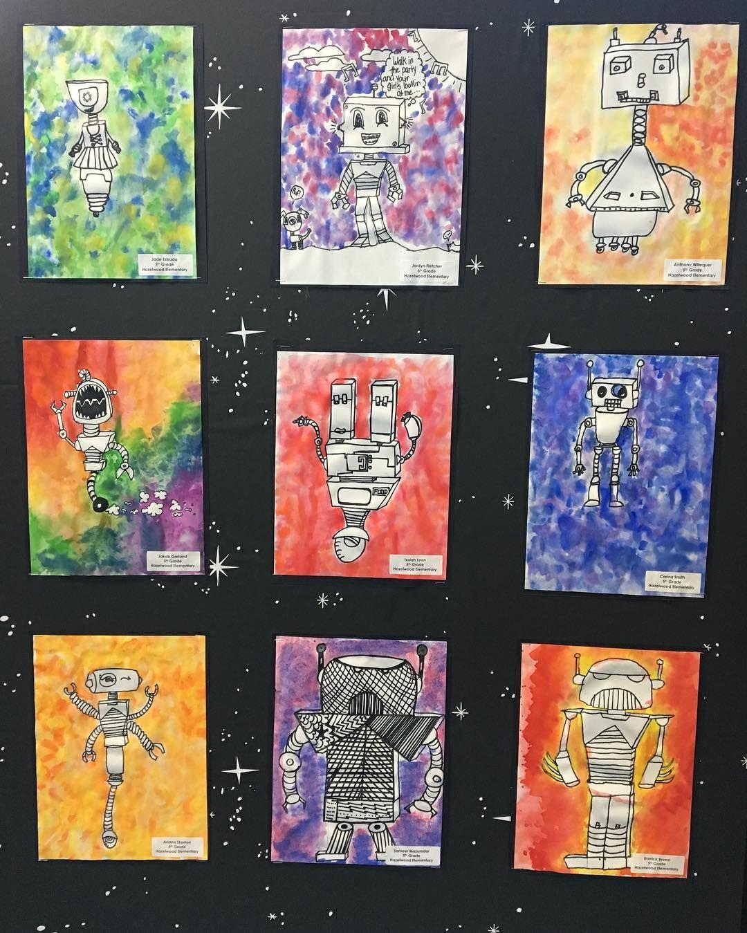 5th grade 3d shapes forms art lesson project idea robots art l. Black Bedroom Furniture Sets. Home Design Ideas