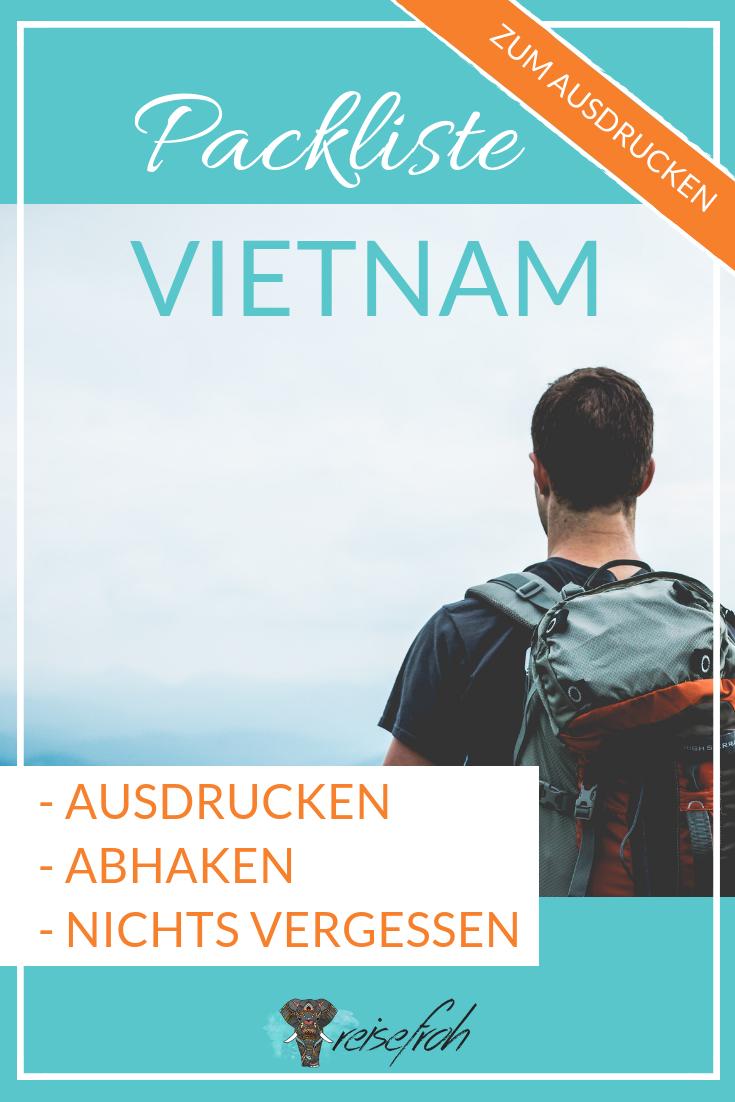 Packliste Vietnam: Ausdrucken | Abhaken | Nichts vergessen