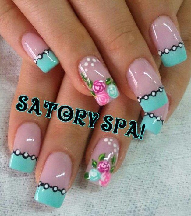 Uñas francés turquesa diseño rosas vintage | Uñas diseños flores ...