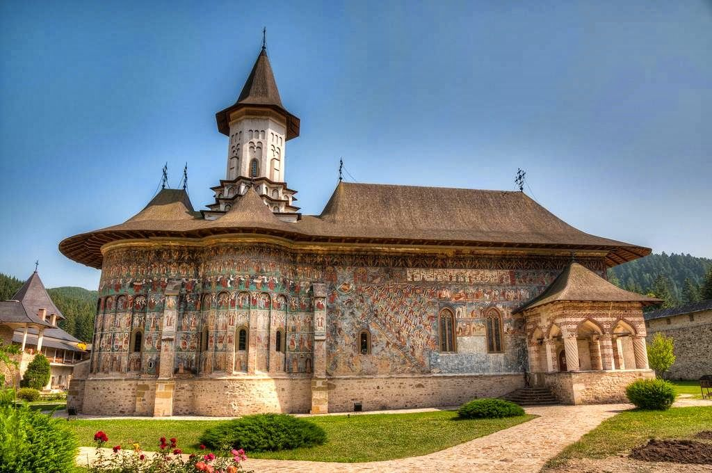 ROMANIA-Moldovita Monastery was built in 1532 to serve as a symbolic and protective barrier against the Turks. It was built by Voivode (warlord) Petru Rares who was the illegitimate son of Stefan the Great