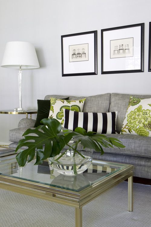 Leaf Green Living Room Decor Black And White With Green Accents Gray Sofa Striped Th Contemporary Living Room Design Living Room Green Living Room Grey