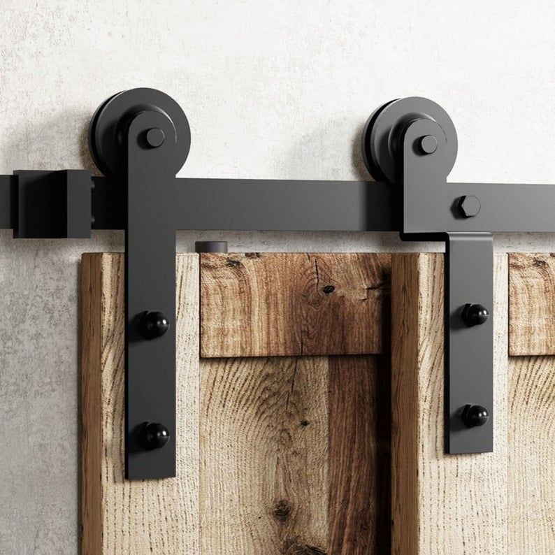 Single Track Bypass Sliding Barn Door Hardware Kit Interior Etsy In 2020 Bypass Barn Door Barn Door Hardware Bypass Barn Door Hardware